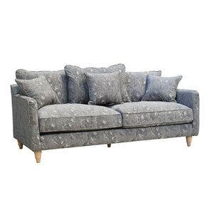 Canapé 4 places en tissu gris à motifs - Rivoli - Visuel n°4