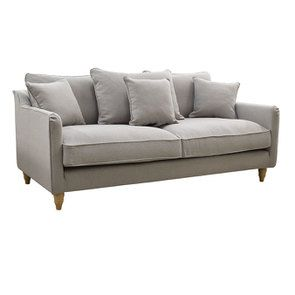Canapé 4 places en tissu gris clair- Rivoli - Visuel n°2