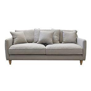 Canapé 4 places gris en lin froissé - Rivoli - Visuel n°1