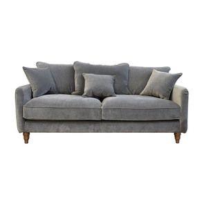 Canapé 4 places en velours gris taupe- Rivoli - Visuel n°1