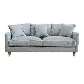 Canapé 4 places en lin froissé vert grisé - Rivoli - Visuel n°1