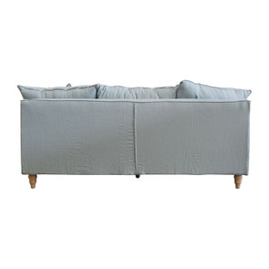 Canapé 4 places en lin froissé vert grisé - Rivoli - Visuel n°4