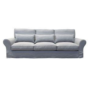 Canapé 5 places en lin froissé gris clair - Newport - Visuel n°1