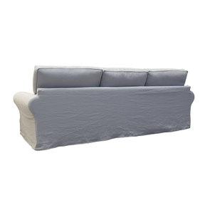 Canapé 5 places en lin froissé gris clair - Newport - Visuel n°5