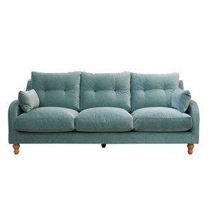 Canapé 4 places en velours turquoise  - Vendôme - Visuel n°1