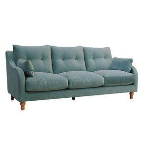 Canapé 4 places en velours turquoise  - Vendôme - Visuel n°2