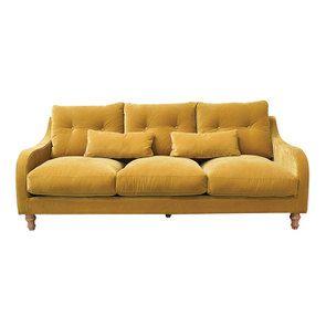 Canapé 4 places en velours moutarde  - Vendôme
