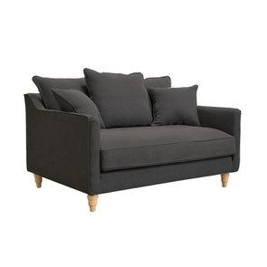 Canapé 2 places en tissu lin anthracite - Rivoli - Visuel n°4