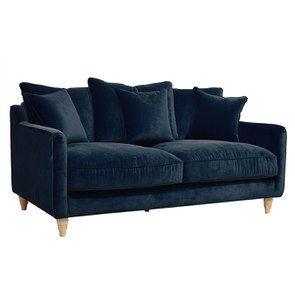 Canapé 3 places en velours bleu paon - Rivoli - Visuel n°2