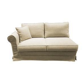 Canapé 3 places accoudoir gauche en tissu écru - Crowson