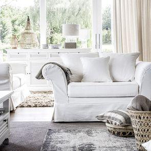 Fauteuil en tissu blanc - British Love Seat