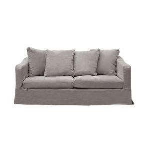 Canapé fixe 3 places en tissu gris - Cleveland - Visuel n°1