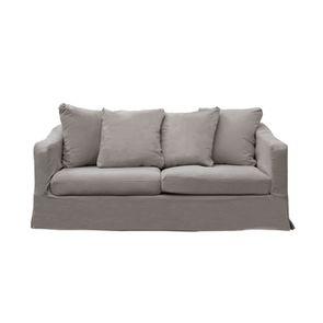 Canapé fixe 3 places en tissu gris perle - Cleveland