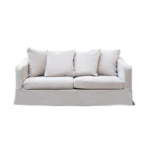 Canapé 3 places en tissu beige - Cleveland - Visuel n°1