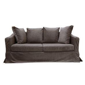 Canapé 3 places en tissu marron - Cleveland - Visuel n°1