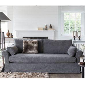 Canapé 3 places en tissu gris - Denver