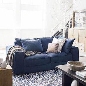 Canapé XL 3 places en tissu bleu foncé - Hudson