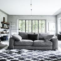 Canapé XL 4 places en tissu uni gris - Hudson