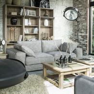 Canapé XL 4 places gris en tissu - Hudson