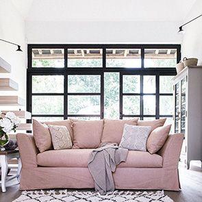 Canapé 3 places en tissu rose - Lismore - Visuel n°2