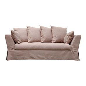 Canapé 3 places en tissu rose - Lismore - Visuel n°1