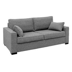 Canapé convertible 3 places en tissu gris clair - Malcolm - Visuel n°3