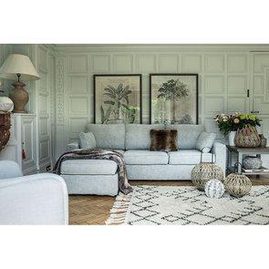 Canapé d'angle 5 places en tissu gris - Malcolm