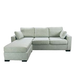 Canapé d'angle 5 places en tissu gris - Malcolm - Visuel n°1