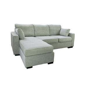 Canapé d'angle 5 places en tissu gris - Malcolm - Visuel n°4