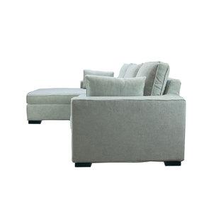 Canapé d'angle 5 places en tissu gris - Malcolm - Visuel n°7