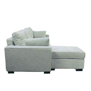 Canapé d'angle 5 places en tissu gris - Malcolm - Visuel n°8