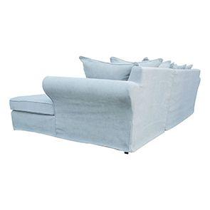 Canapé d'angle 5 places en tissu bleu - Melbourne - Visuel n°6