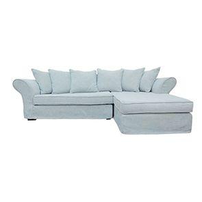 Canapé d'angle 5 places en tissu bleu - Melbourne - Visuel n°1