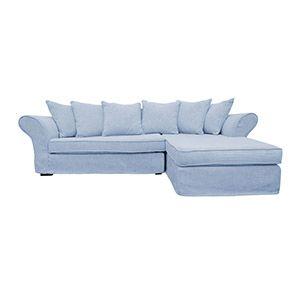 Canapé d'angle convertible 5 places en tissu gris - Melbourne