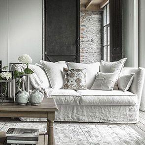 Canapé 3 places blanc en lin - Melville