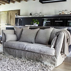 Canapé 3 places en lin froissé naturel - Melville