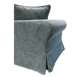 Canapé fixe 3 places en tissu bleu eucalyptus - Wilson - Visuel n°12