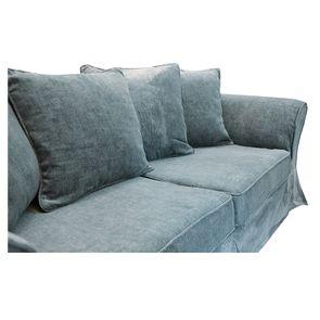 Canapé fixe 3 places en tissu bleu eucalyptus - Wilson - Visuel n°17