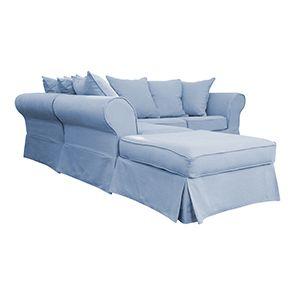 Canapé d'angle 5 places gris en tissu - Melbourne - Visuel n°3