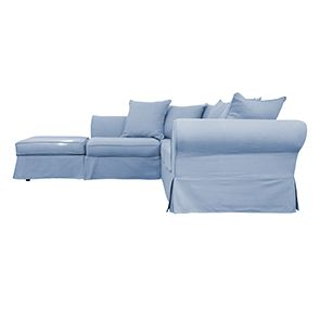 Canapé d'angle 5 places gris en tissu - Melbourne - Visuel n°6