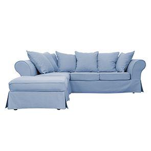 Canapé d'angle 5 places gris en tissu - Melbourne - Visuel n°1