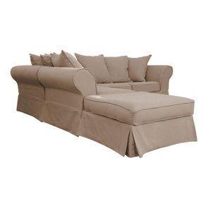 Canapé d'angle 5 places en tissu beige - Wilson II - Visuel n°2