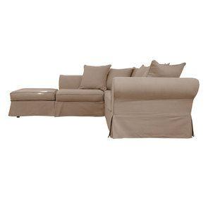 Canapé d'angle 5 places en tissu beige - Wilson II - Visuel n°3