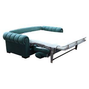Canapé convertible 2 places en tissu vert - Bellagio - Visuel n°6