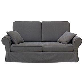 Canapé convertible 2 places gris en tissu - Harold
