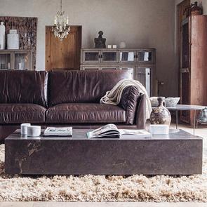 Canapé en cuir 3 places marron foncé - Canberra - Visuel n°3