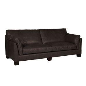 Canapé en cuir 3 places marron foncé - Canberra - Visuel n°5