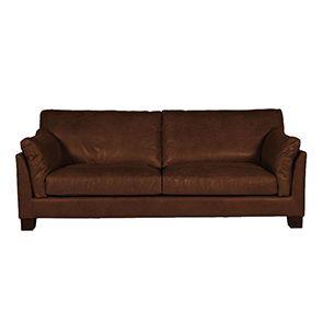 Canapé en cuir marron 3 places - Canberra - Visuel n°1