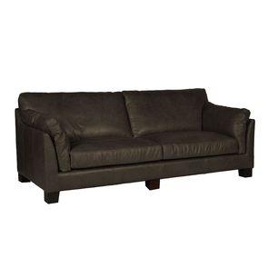 Canapé en cuir 3 places noir vieilli - Canberra - Visuel n°2