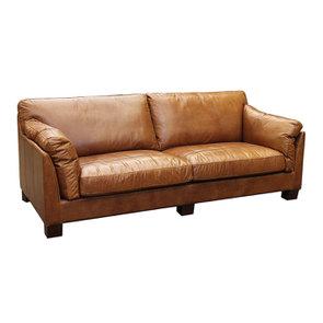 Canapé en cuir 3 places marron clair - Canberra - Visuel n°1